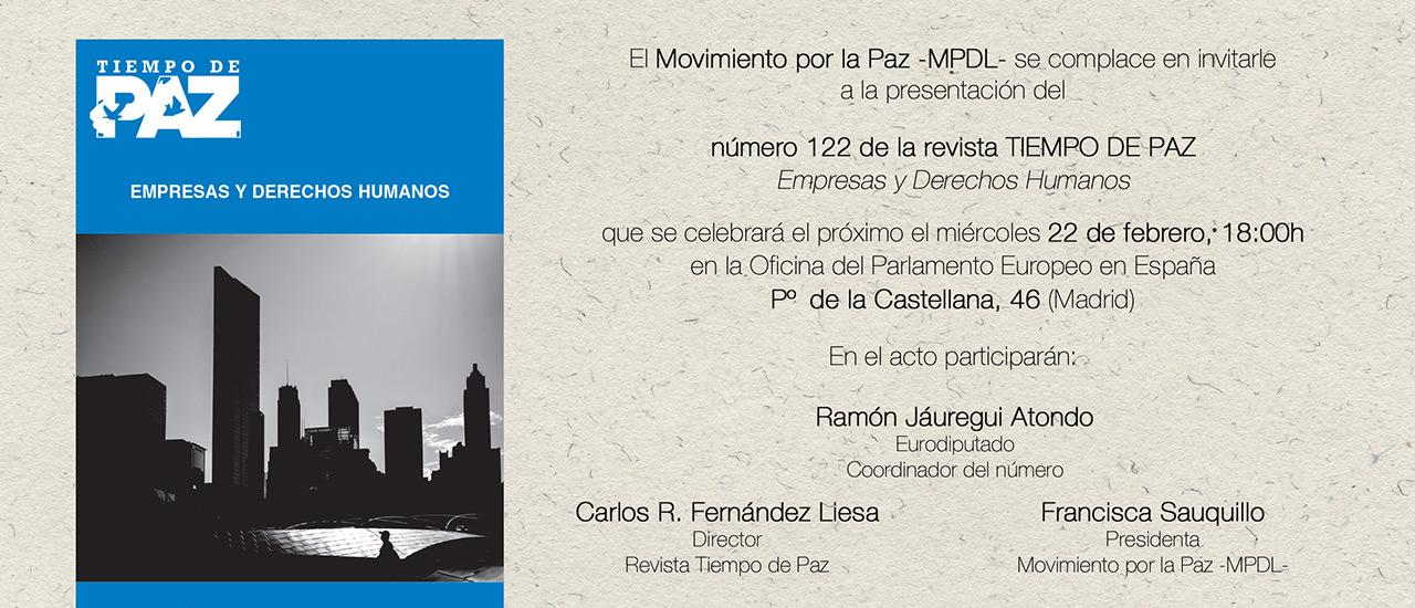 """Presentación Tiempo de Paz 122 """"Empresas y Derechos Humanos"""""""