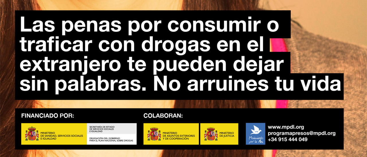 El Ministerio de Sanidad y el Movimiento por la Paz alertan del peligro de las drogas en los viajes al extranjero