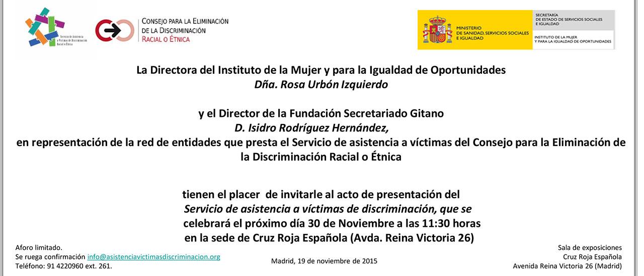 Presentación en Madrid del servicio de asistencia a víctimas de discriminación