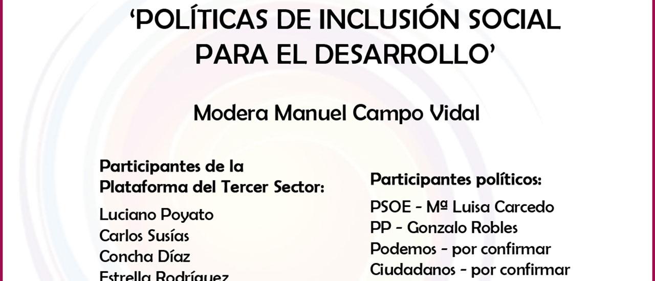 PP, PSOE, Ciudadanos y Podemos debaten sobre necesidades sociales con el Tercer Sector en un encuentro moderado por Manuel Campo Vidal