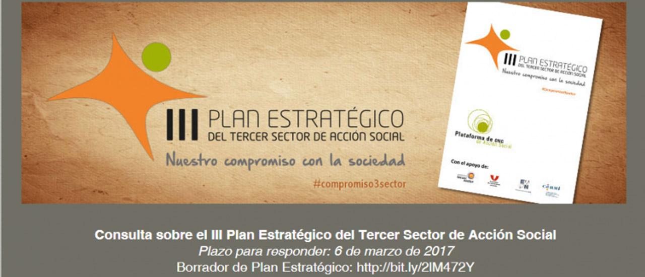 El Tercer Sector de Acción Social se une en la elaboración del III Plan Estratégico del Tercer Sector de Acción Social con el propósito de responder de manera efectiva a los retos de la sociedad.Participa en la encuesta online para la elaboración del III Plan Estratégico del Tercer Sector de Acción Social